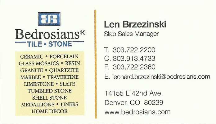 Bedrosians Tile & Stone Len Brzezinski Slab Sales Manager